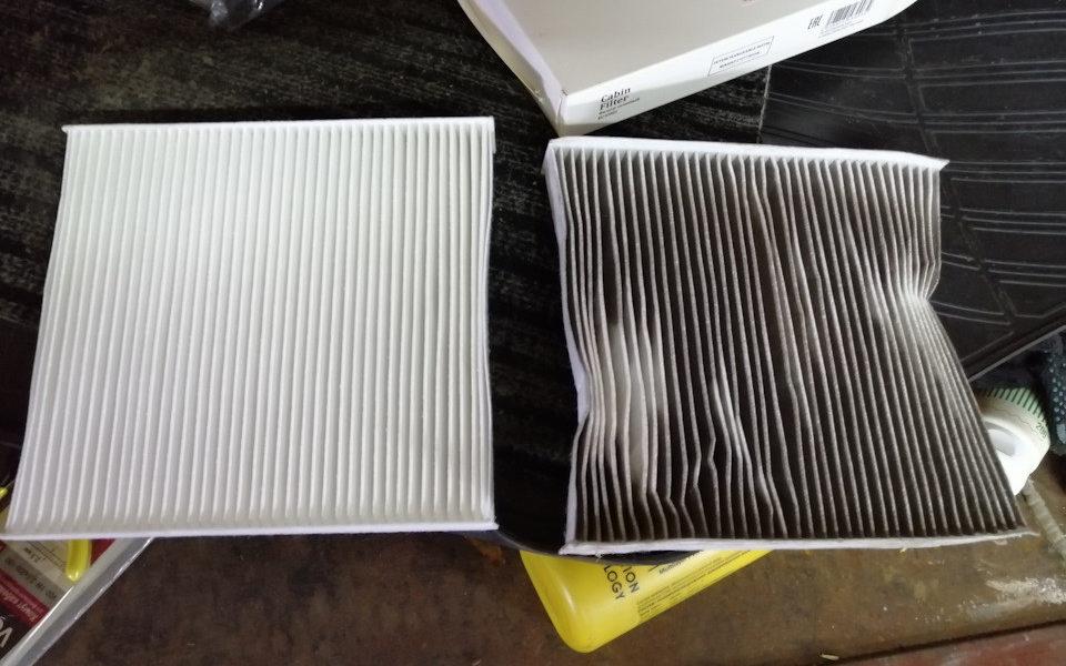 Грязный и чистый фильтр салона Весты