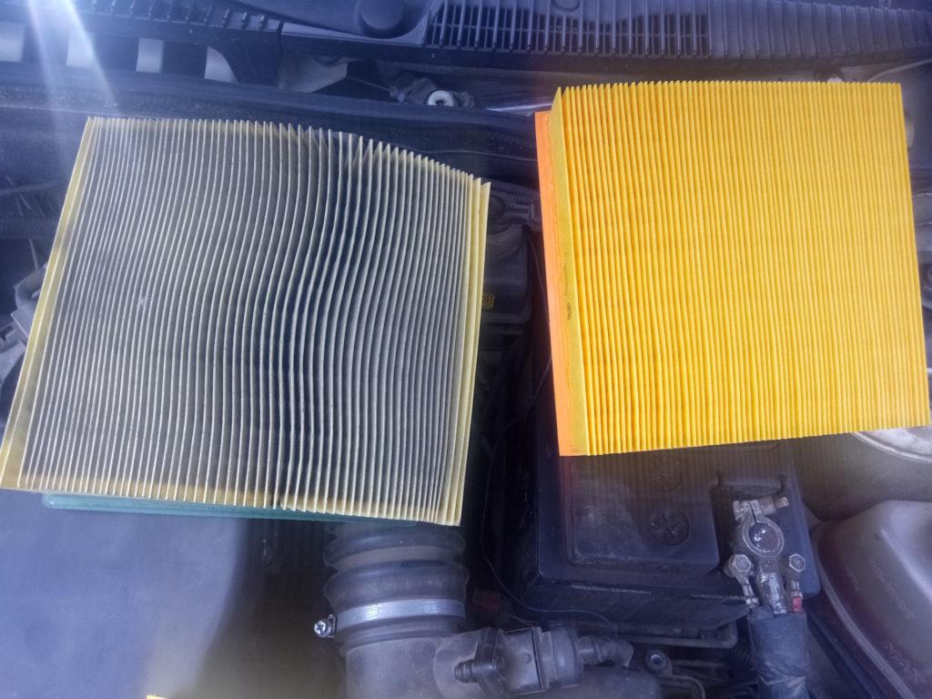 Чистый и грязный воздушный фильтр калины